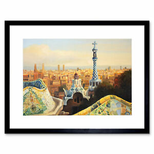 Park Guell Painting Barcelona Framed Wall Art Print 9X7 In