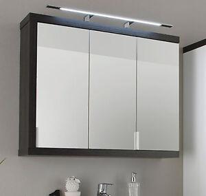 Bad Spiegelschrank 90 cm 3-türig grau Sardegna Badezimmer Spiegel Möbel Sunrise