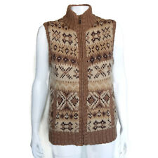 LAUREN JEANS COMPANY Wool Mohair Nordic Brown Zip Front Sweater Vest size Medium