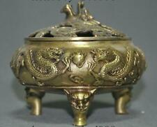 Marked Chinese brass buddhism fengshui dragon lucky statue Incense burner Censer