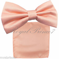 Light Peach Solid Butterfly Pretied Bow tie & Pocket Square Hanky Wedding