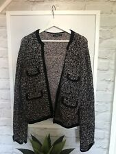 BNWOT Zara Open Front Knitted Fantasy Jacket w/ Jewel Buttons UK12 Large