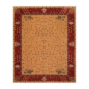 8' x 10' Hand Knotted Tibetan 100% Wool Arts & Craft Oriental Area Rug Gold 8x10
