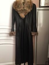 Full length leather coat with natural fox fur