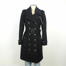 BURBERRY Wintermantel Coat Wolle Schwarz Wollmantel Gr. DE 36 UK 8 (BH32)