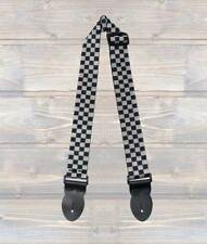 UK MADE BLACK N WHITE CHECKERED POLYWEB ELECTRIC,ACOUSTIC BASS GUITAR STRAP