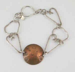 "925 Sterling Silver & Copper Modernist Bracelet 7.5"" Long"