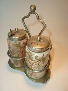 Original antique Victorian English Porcelain signed salt  pepper shaker w/spoon