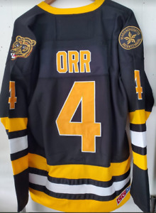 NWT Boston Bruins Bobby Orr #4 Throwback Black Jersey CCM Size 2XL (54) 🔥