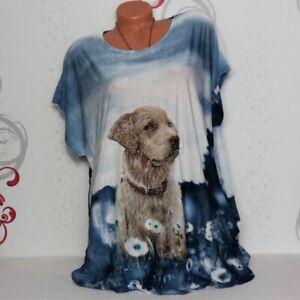 Damen T-Shirt Bluse Top Tunika Glitzer mit Hund XL/XXL 46 48 50