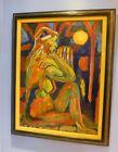 Large Mid Century Dated 1970 Post Impressionist Oil Fauvist cubist Modern Nude