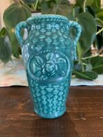 USA pottery double handled basket weave green glaze small vase