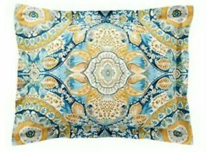 Pottery Barn Izzy Medallion Organic Standard Pillow Sham Teal Orange Yellow Blue
