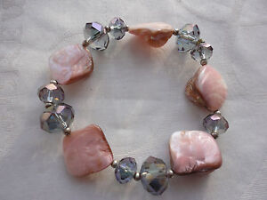 Silverplated 20mm pink MOP 13mm briolette lilac crystal 31 gram elastic bracelet