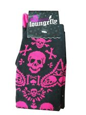 Pink And Black Skull and Crossbone Loungefly Socks Size 9-11 New Gift