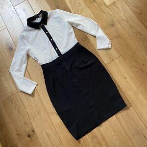 Retro Black White Colour Block Pencil Dress Small Size 6