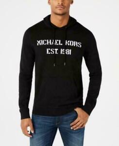🎁 NWT $148 Michael Kors Men's Logo Graphic Pullover Hoodie Sweater Black White