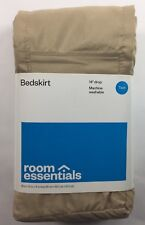 Room Essentials Bed Skirt Twin Size Solid Tan 14 Inch Drop 0458