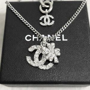 CHANEL Pendant Necklace CC Logo Silver Four-leaf clover 03A 43