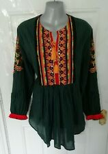 ETHNIC by OUTFITTERS Size 16 (L) Green Black Check Multi Embroidered Blouse Top