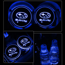 2x LED Car Cup Bottle Holder Pad Mat for SUBARU Auto Interior Atmosphere Lights