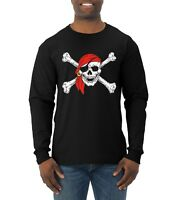 Jolly Roger Pirates Skull And Bones Mens Long Sleeve Pirate In Bandana T Shirt