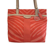 NWT COACH Orange Tan Fabric Zebra Print Tote Bag F23283 MSRP $268