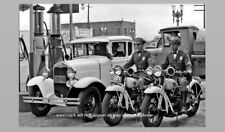 1930s Motorcycle Cops Photo Signal Gas Station Police Henderson Motorcycles