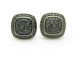 David Yurman Sterling Silver Albion Stud Earrings with Black Diamonds 7mm Gift