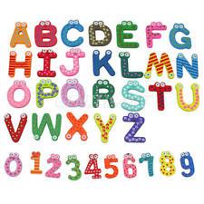 36pcs Letters Numbers Kids Wooden Alphabet Fridge Magnet Child Educational Toy