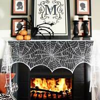 Lace Spiderweb Fireplace Mantle Scarf Cover Haunted House Props Halloween Decor