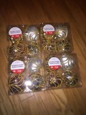 16 Piece NEW Shatterproof Christmas ORNAMENTS Glitter Fancy Gold White Bronze