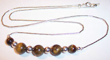 """Sterling Silver Bead & Polished Cats Eye Southwest Necklace 39"""""""