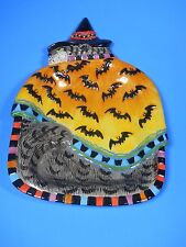 Fitz & Floyd Halloween Cat Kitty Witches Canape Plate with Bats Tray