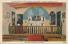 Postcard California Ca San Diego Old Town Chapel Ramona Marriage 1940s-50s Mint