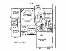 House Plans for 1765 Sq. Ft. 3 Bedroom House w/Garage