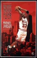 "Michael Jordan Bulls ""Chicago Flyer"" Poster Nike Shoes XIII? OOP Chicago skyline"