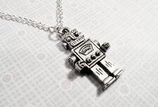 Retro Robot Necklace, retro rockem sockem geeky fun novelty pendant steel chain