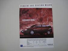 advertising Pubblicità 1989 PEUGEOT 405 STATION WAGON