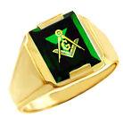 Freemason Green Stone Square & Compass Gold Masonic Mens Ring Letter G