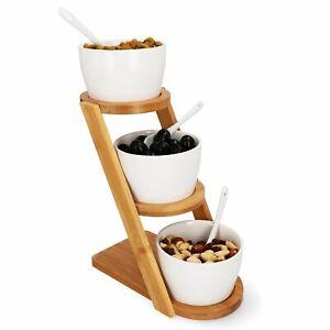 7-tlg. Servier-Schalen-Set 3x Porzellan-Schälchen & Löffel + Bambus-Ständer Dip