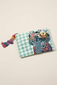 ANTHROPOLOGIE ELEPHANT EMBELLISHED POUCH NWT