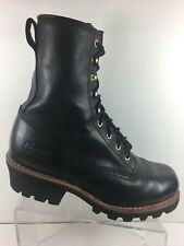 Chippewa Men's Logger Boots Size 11W Work Boot Black Leather Vibram Sole