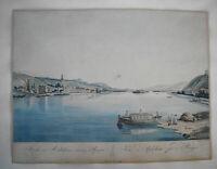 Rüdesheim  Rhein Kolorierte Umrissradierung nach Janscha von Ziegler 1798