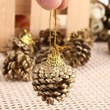 9Pcs Christmas Pine Cones Baubles Xmas Tree Party Decor Ornaments Gift 5x4CM