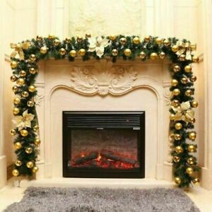 9FT Pre Lit Christmas Garland Gold with Lights Door Wreath Xmas Fireplace Decor