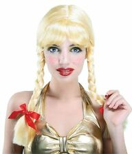 Adult Ladies Blonde Pigtail Wig Sexy School Girl Bunches Plait Fancy Dress New