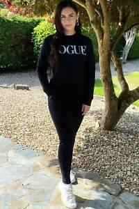 Womens Black Vogue Loungewear Set Tracksuit