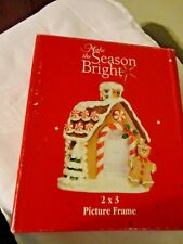Make the Season Bright Resin Gingerbread House Holiday Christmas Photo Frame