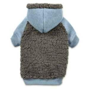 Casual Canine Cozy Warm Fleece Dog Hoodies Sweater Coat Jacket BLUE S/M MEDIUM